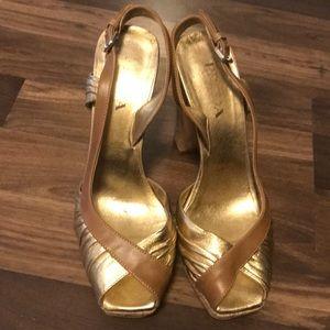 Prada Gold Pumps with cork sole